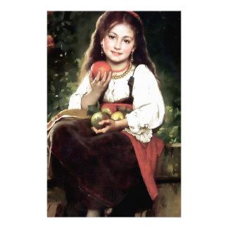 Flicka med antik målning för äpplen brevpapper