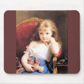 Flicka med antik målning för docka musmatta