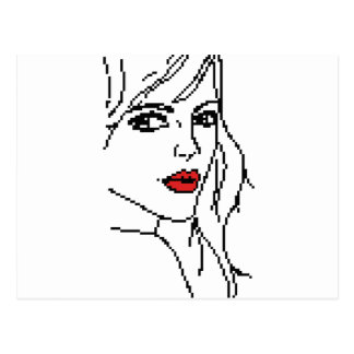 Flicka med den röda läppar vykort