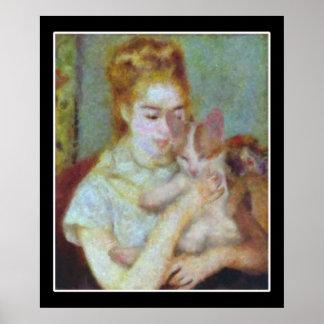 Flicka med en katt poster