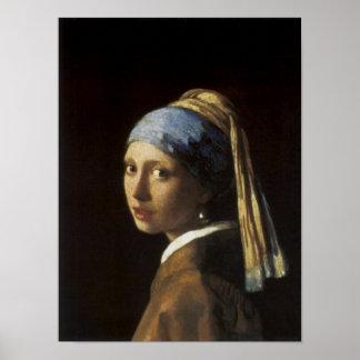Flicka med ett pärlemorfärg örhänge poster