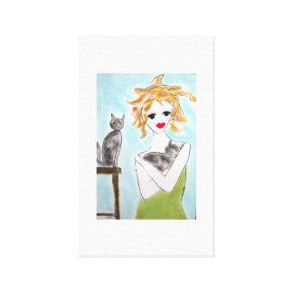 Flicka med grå färgkatter canvastryck