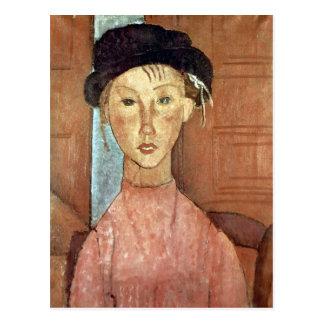 Flicka med hatten av Amedeo Modigliani Vykort