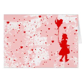 flicka med hjärtaballongen. jag älskar dig. hälsningskort