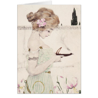 Flicka med lampart nouveau hälsningskort