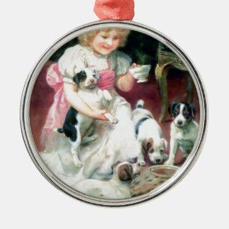 Flicka med Puppie husdjur som har teapartyet Julgransprydnad Metall