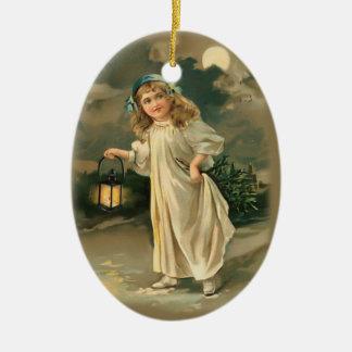 Flicka- och lampjulprydnad julgranskulor