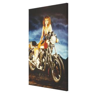 Flicka och motorcykel canvastryck
