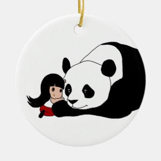 Flicka och Panda Julgransprydnad Keramik