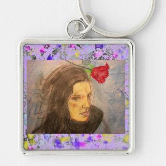 flicka- och rodroppande fyrkantig silverfärgad nyckelring