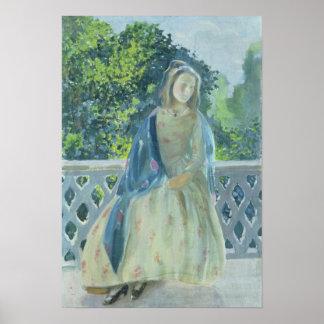 Flicka på Balkong, 1900 Poster