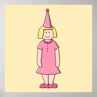 Flicka på en födelsedagdeltagare affischer