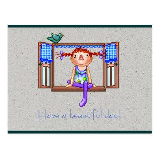Flicka på en konst för fönsterSillPIXEL Vykort