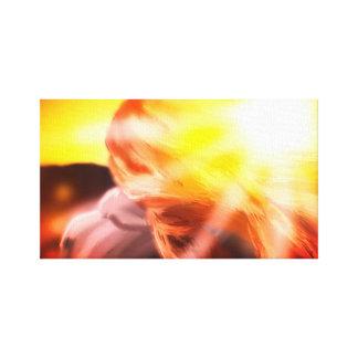 Flicka på solnedgången. canvastryck