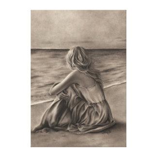 Flicka på strandkanvastryck canvastryck