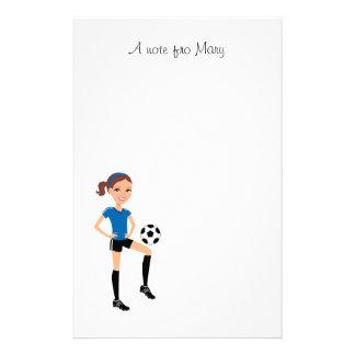 Flicka personlig för fotbollspelare brevpapper