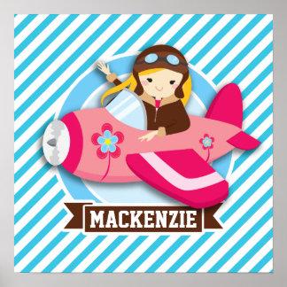 Flicka som är pilot- i rosa flygplan; Blått- & Affisch