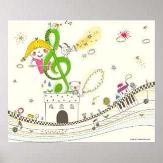Flicka som leker med musik noter på hus print