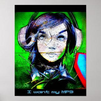 Flicka som lyssnar till musik - jag önskar min MP3 Poster