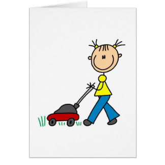 Flicka som mejar gräskortet hälsningskort