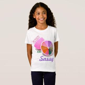 Flicka sötsak och Sassy vitJersey T-tröja Tee Shirts