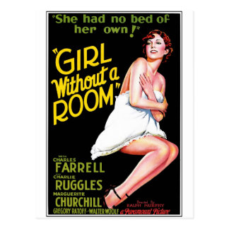 Flicka utan ett rum vykort