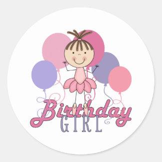 FlickaBallerinafödelsedag Runt Klistermärke