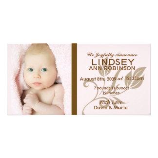 Flickafödelsemeddelande Hälsningskort Med Foto