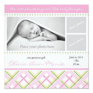 Flickafödelsemeddelande - fotokort fyrkantigt 13,3 cm inbjudningskort