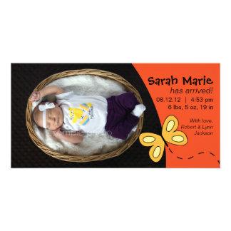 Flickafödelsemeddelande i orange fotokort