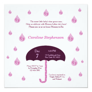 Flickafoten regnar duschbaby showerinbjudan fyrkantigt 13,3 cm inbjudningskort