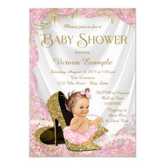Flickakickhälet skor pärlababy shower 12,7 x 17,8 cm inbjudningskort