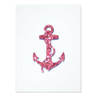 Flickaktigt ankrar roligt, rosaglitter utskrivavet 16,5 x 22,2 cm inbjudningskort