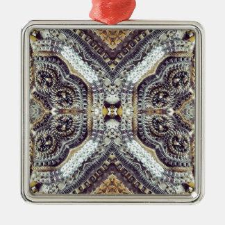 flickaktigt bling guld- exotisk medaljong för silverfärgad fyrkantigt julgransprydnad