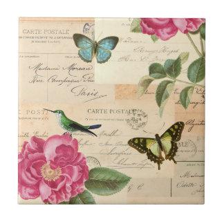 Flickaktigt blom- vintage belägger med tegel med kakelplatta