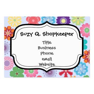 Flickaktigt färgrik blommönster för flower power set av breda visitkort
