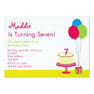 Flickaktigt födelsedagsfest - tårta & ballonger 12,7 x 17,8 cm inbjudningskort