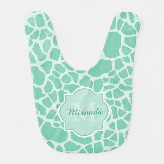 Flickaktigt för girafftryck för Mint grön Monogram Hakklapp