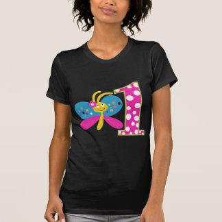 Flickaktigt första födelsedag för fjäril t-shirts