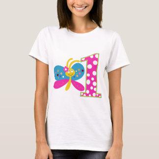 Flickaktigt första födelsedag för fjäril tröjor