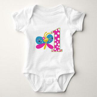Flickaktigt första födelsedag för fjäril tshirts