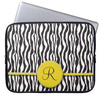 Flickaktigt gul Monogramzebra trycklaptop sleeve Laptop Datorskydd