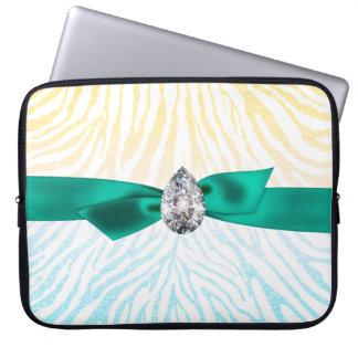 Flickaktigt gula blått blänker det zebra mönstrad laptop sleeve
