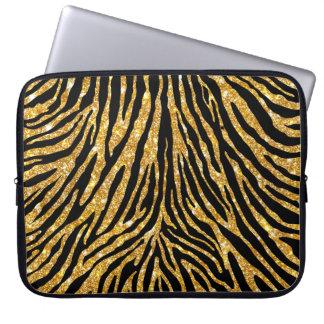 Flickaktigt guld- zebra mönstrad Fauxglittersvart Datorskydd