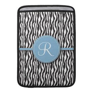 Flickaktigt Mackbook för blåttMonogramzebra tryck  Sleeves För MacBook Air