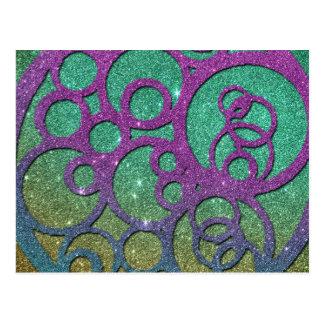 Flickaktigt moderiktigt Fauxglitter cirklar Vykort