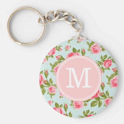 Flickaktigt Monogram för vintageroblommigt Nyckel Ringar