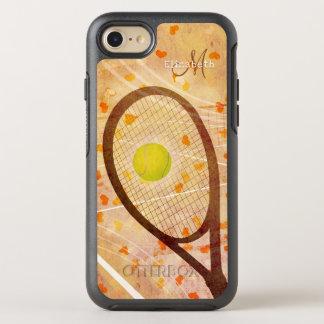 flickaktigt monogrammed hjärtatenniskärlek OtterBox symmetry iPhone 7 skal