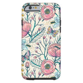 Flickaktigt mönster för blomma för tough iPhone 6 skal