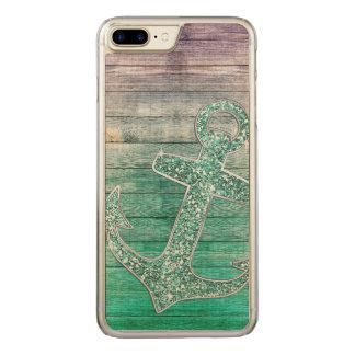 Flickaktigt nautisk purpurfärgad Aqua ankrar & trä Carved iPhone 7 Plus Skal